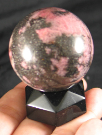 Obsidian Sphere Stand - each :: Image is of piece for sale.
