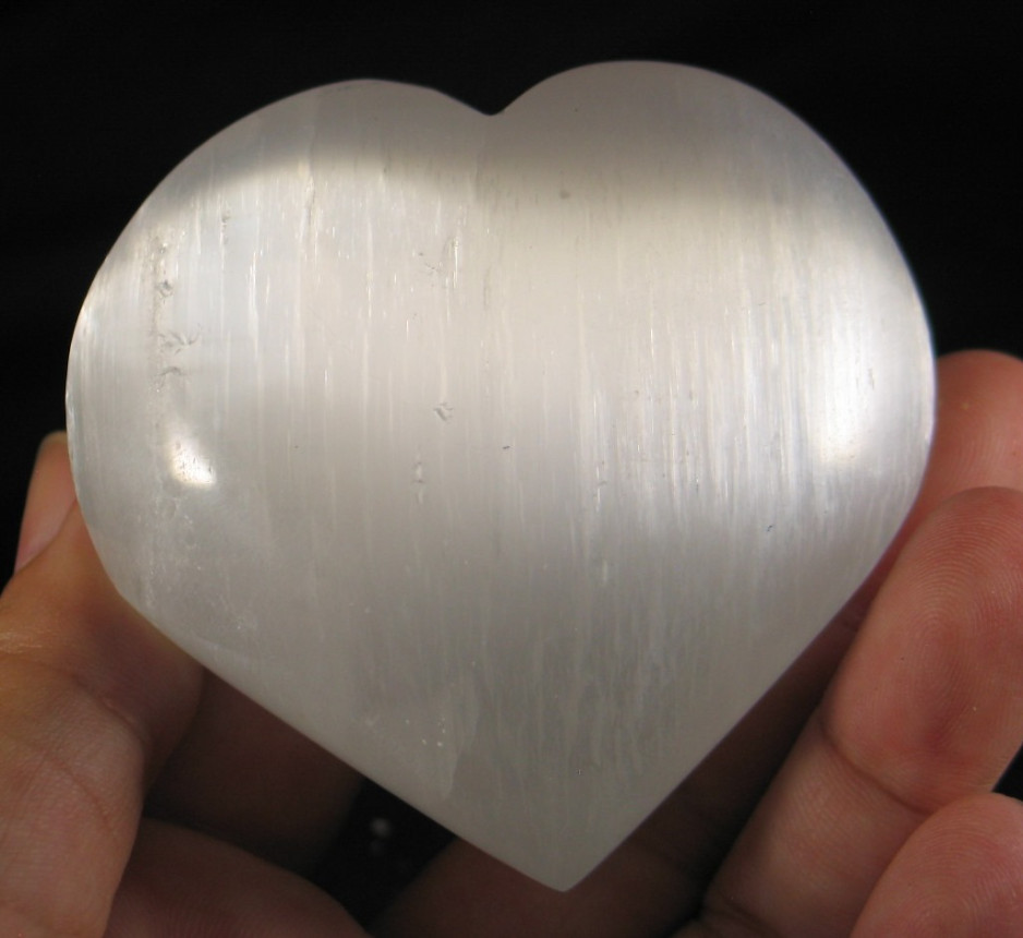 Shimmering Selenite Heart :: Image is of piece for sale.