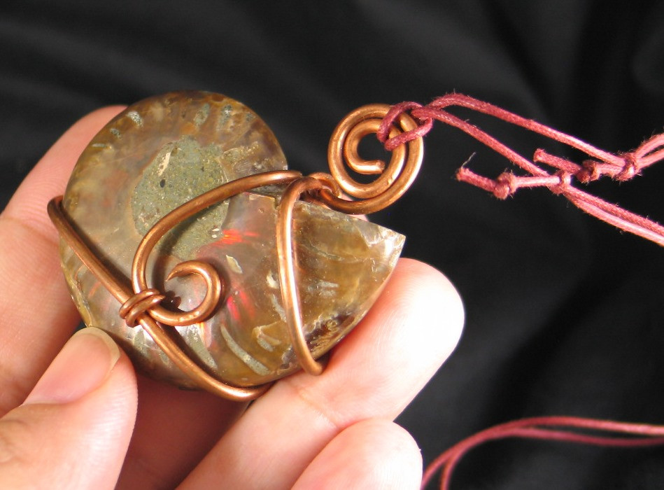 Copper Wrapped Ammonite :: Image is of piece for sale.