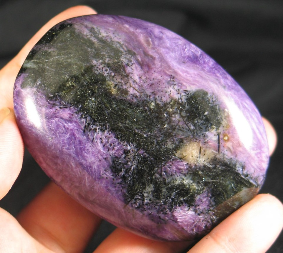 Charoite in Quartz Palmstone :: Image is of piece for sale.