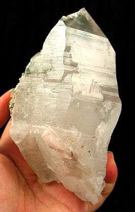Himalayan Snow Goddess Green Chlorite DT Quartz Crystal w/ Anatase :: Image is of piece for sale.