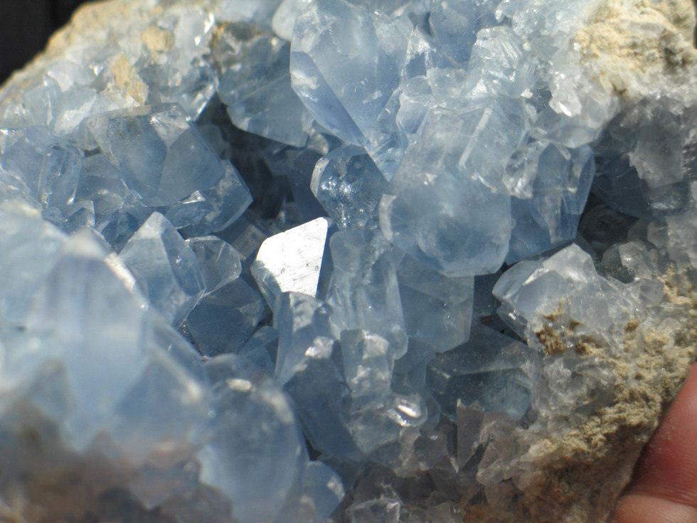 Brilliant Blue Large Celestite Geode :: Image is of piece for sale.
