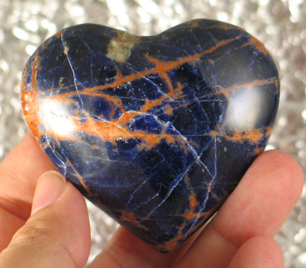 Striking Orange and Blue Sodalite Heart :: Image is of piece for sale.