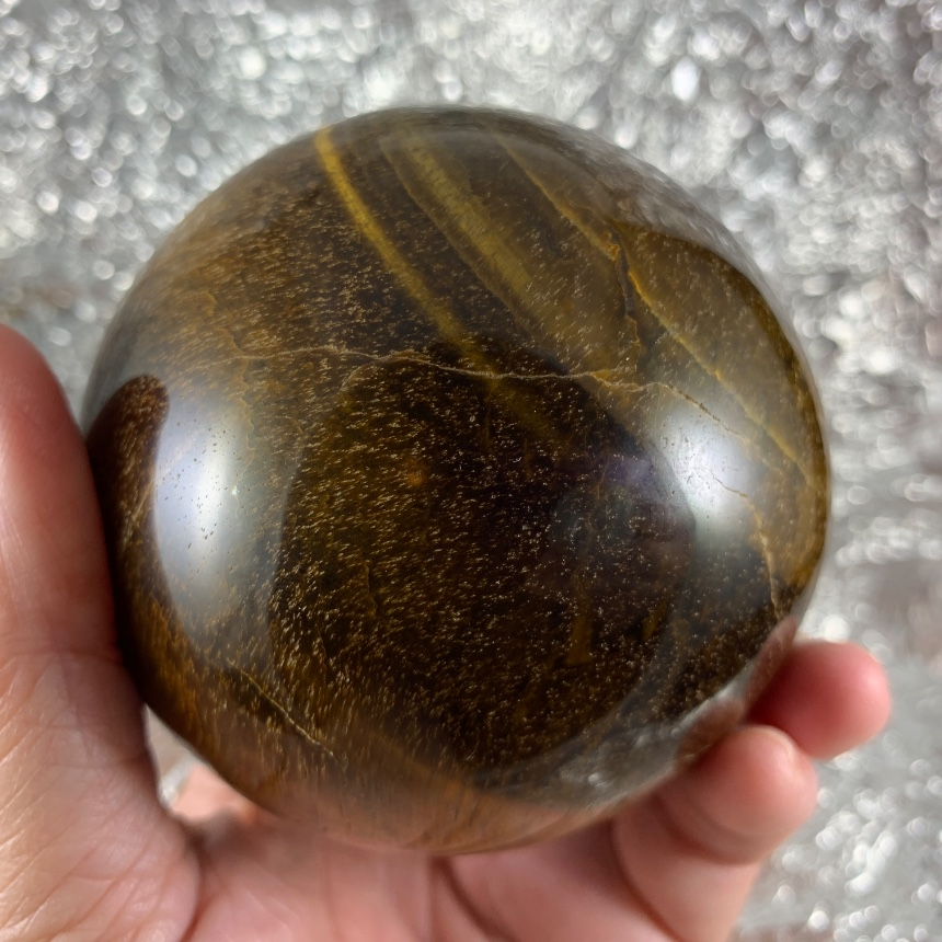 Gorgeous Large Chatoyant Tigers Eye Sphere :: Image is of piece for sale.