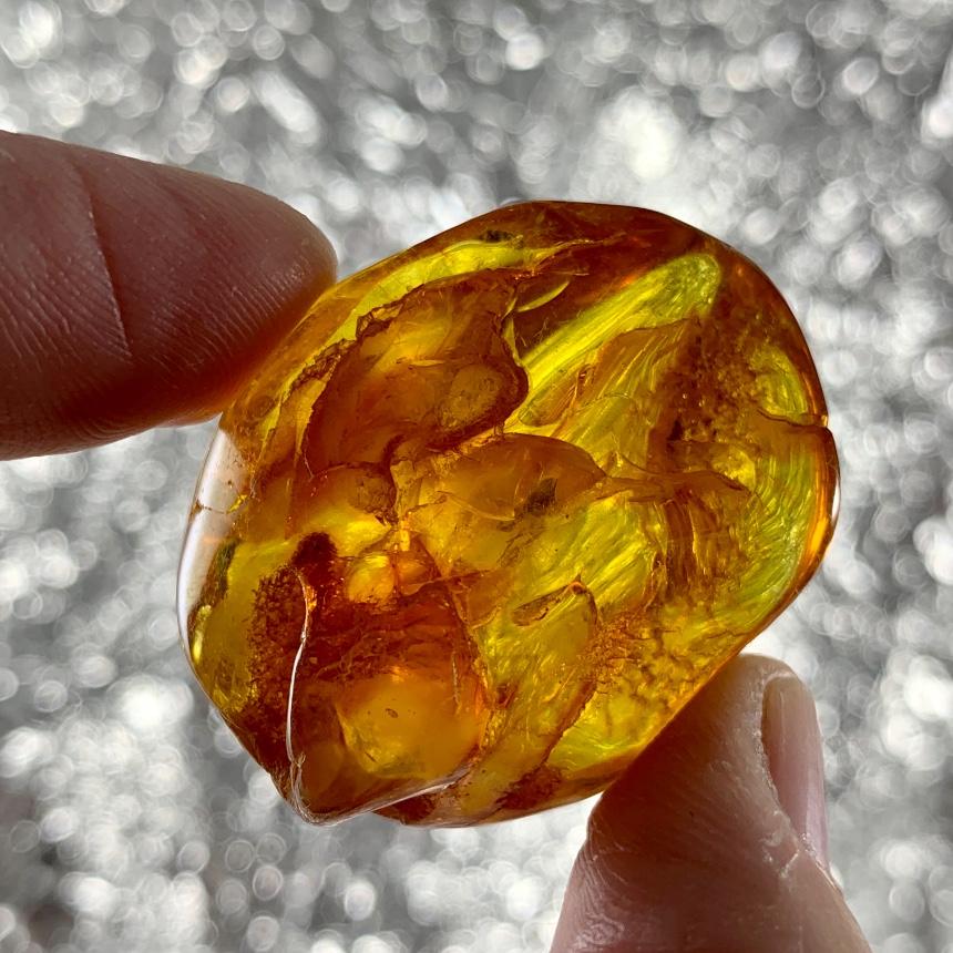 Golden Orange Amber Freeform  :: Image is of piece for sale.