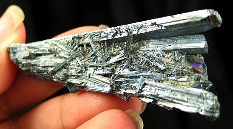 Steel Blue Stibnite Formation :: Image is of piece for sale.
